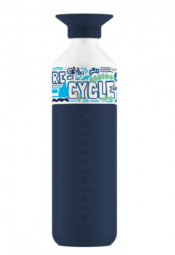 Insulated Breaker Blue Dopper Bottle with graphic design on the cup saying RE-CYCLE